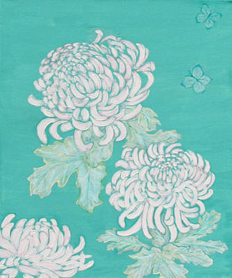 Painting - Chrysanthemums And Butterflies by Stephanie Grant