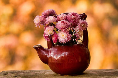 Chrysanthemums Photograph - Chrysanthemums In A Red Teapot by Peggy Collins