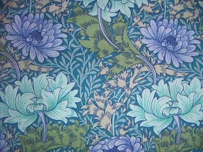 Nature Tapestries - Textiles Tapestry - Textile - Chrysanthemums In Blue by William Morris