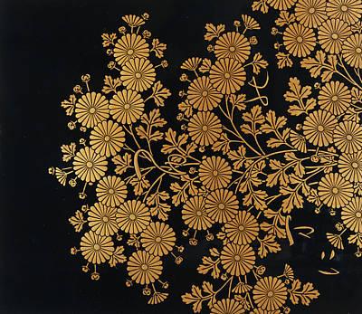 Lacquer Painting - Chrysanthemums by Uematsu Hobi