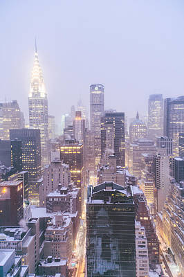 Chrysler Building And Skyscrapers Covered In Snow - New York City Art Print