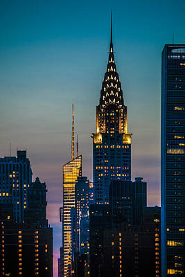 Skylines Royalty-Free and Rights-Managed Images - Chrysler Building At Sunset by Chris Lord