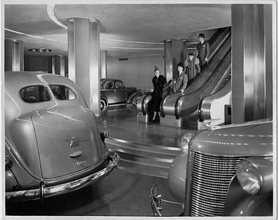 Chrysler Building Car Showroom Art Print by Underwood Archives