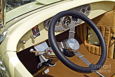 Photograph - Chrysler Interior Steering Wheel Classic Car American Made by David Zanzinger
