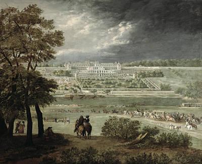 Château Of St. Germain-en-laye In 1655 Oil On Canvas Art Print by Adam Frans van der Meulen