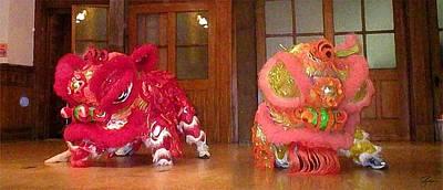 Chua Truc Lam Two Dragons - Dry Brush Art Print by Shawn Lyte