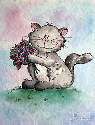 Painting - Chubby Kitty With Flowers by Dani Abbott