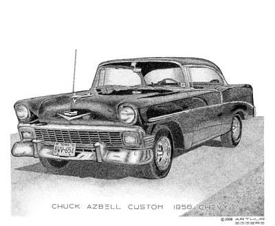 Drawing - Chuck Azbell Custom 1956 Chevy by Arthur Eggers