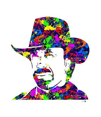 Chuck Norris Digital Art - Chuck Norris Paint Splatter by Gregory Murray