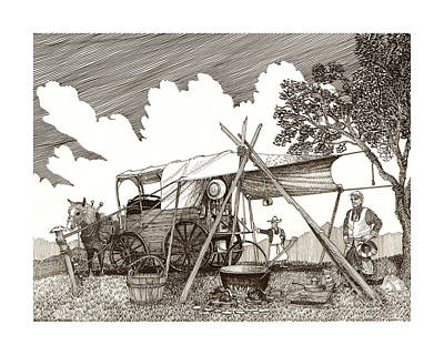 Drawing - Chuckwagon Cattle Drive Breakfast by Jack Pumphrey
