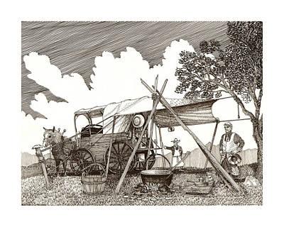 Cattle Drive Drawing - Chuckwagon Cattle Drive Breakfast by Jack Pumphrey