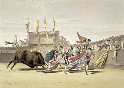 Bullfighter Drawing - Chulos Playing The Bull, 1865 by William Henry Lake Price