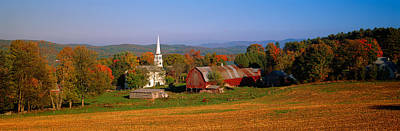 Church And A Barn In A Field, Peacham Art Print by Panoramic Images