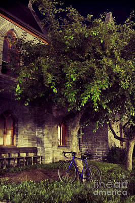 Window Bench Photograph - Church And Blue Bike by HD Connelly