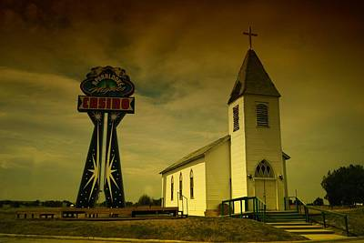 Church And Casino Those Two Angels  Art Print by Jeff Swan