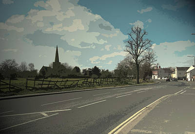 Church And Main Road In Sawley, This Is The B6540 Tamworth Print by Litz Collection