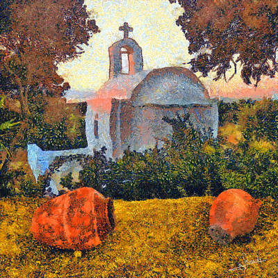 Priest Painting - Church And Pots by George Rossidis