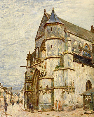 House Of Worship Painting - Church At Moret After The Rain by Alfred Sisley