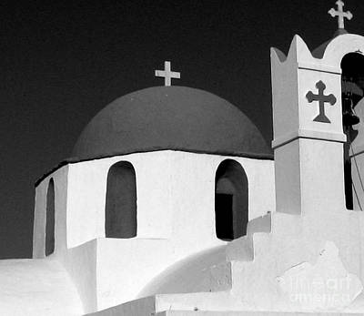 Photograph - Church At Myconos Bw by A K Dayton