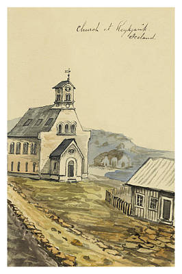 Norse Painting - Church At Rejkjavik Iceland 1862 by Aged Pixel