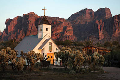 Church At The Superstition Mountains Arizona Art Print
