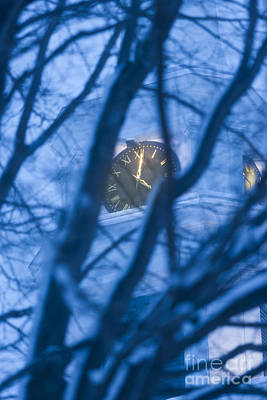 Photograph - Church Clock Through Trees At Dusk. by Don Landwehrle