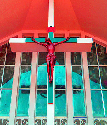 Photograph - Church Crucifix Red by Laurie Tsemak