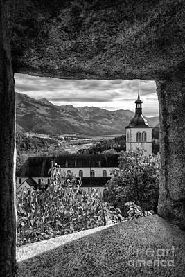 Church From Castle Window Bw Art Print