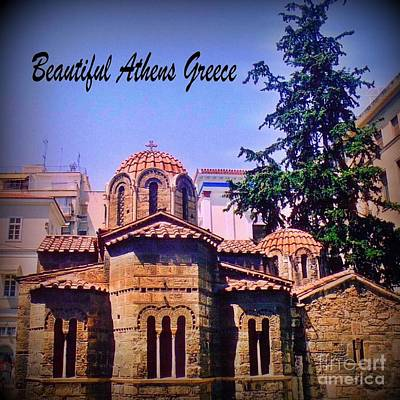 Orthodox Mixed Media - Church In Beautiful Athens by John Malone