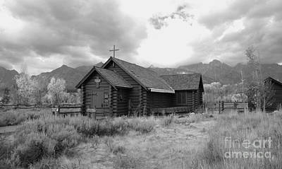 Church In Black And White Print by Kathleen Struckle