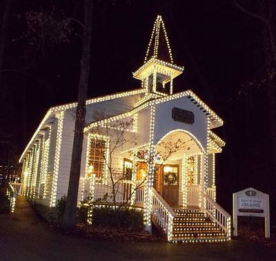 Photograph - Church In Dollywood At Christmas by Regina McLeroy