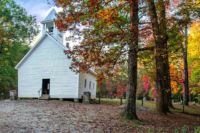 Photograph - Church In Fall by Mary Almond