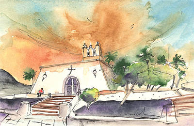 Painting - Church In Playa Blanca In Lanzarote by Miki De Goodaboom