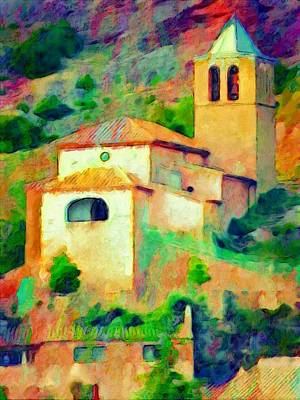 Painting - V - Church In Riglos Spain - Vertical by Lyn Voytershark