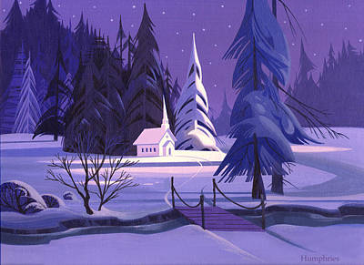 Card Painting - Church In Snow by Michael Humphries