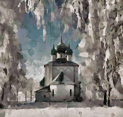 Digital Art - Church In Snow Nowhere by Yury Malkov