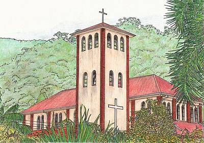 Drawing - Church In The Jungle by Lew Davis
