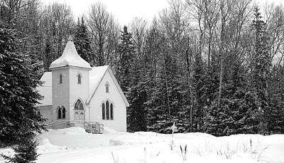 Photograph - Church In The Snow B And W by David Arment
