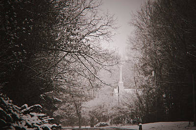 Art Print featuring the photograph Church In The Snow  by Debra Crank
