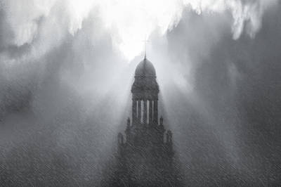 Church In The Storm Art Print