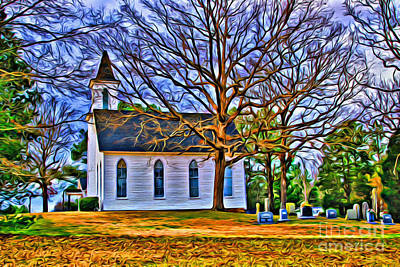 Photograph - Church In The Wildwood - Paint by Scott Hervieux