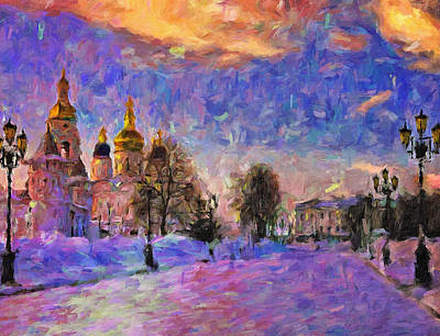 Digital Art - Church In Winter Colors by Yury Malkov