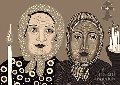 Digital Art - Church Ladies 2 by Sarah Loft