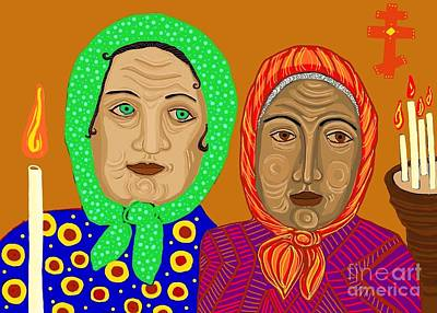 Multicolored Digital Art - Church Ladies by Sarah Loft