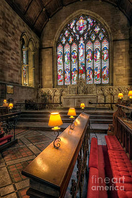 Window Bench Photograph - Church Lamps by Adrian Evans