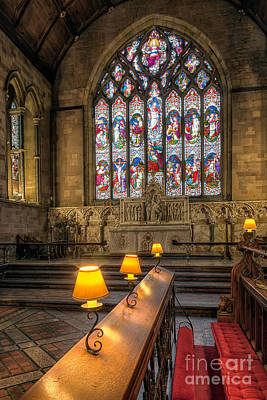 Bench Photograph - Church Lamps V2 by Adrian Evans
