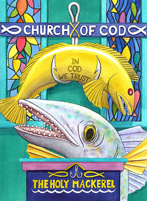 Fishhook Painting - Church Of Cod by Catherine G McElroy