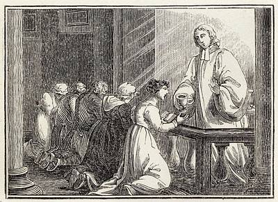 Communion Drawing - Church Of England Sacrament Also Called by Mary Evans Picture Library