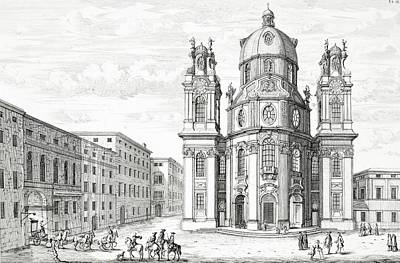 Building Exterior Drawing - Church Of Notre Dame, Salzburg by Johann Bernhard Fischer von Erlach