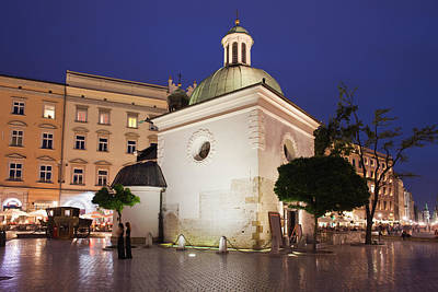 Medieval Temple Photograph - Church Of Saint Wojciech In Krakow At Night by Artur Bogacki